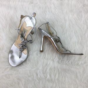 Jimmy Choo Sz 36 Silver metallic t-strap stilettos